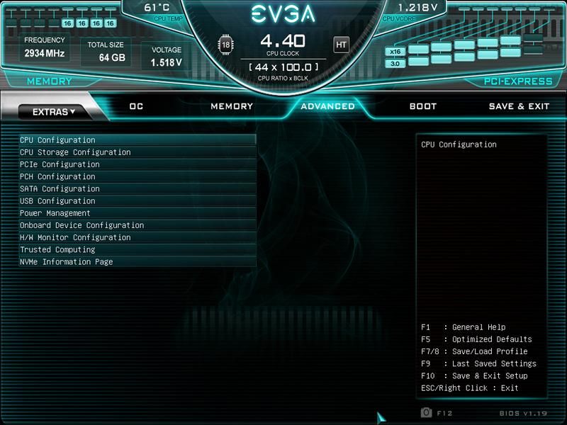 EVGA X299 Dark BIOS Advanced
