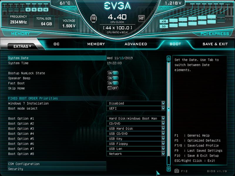 EVGA X299 Dark BIOS Main