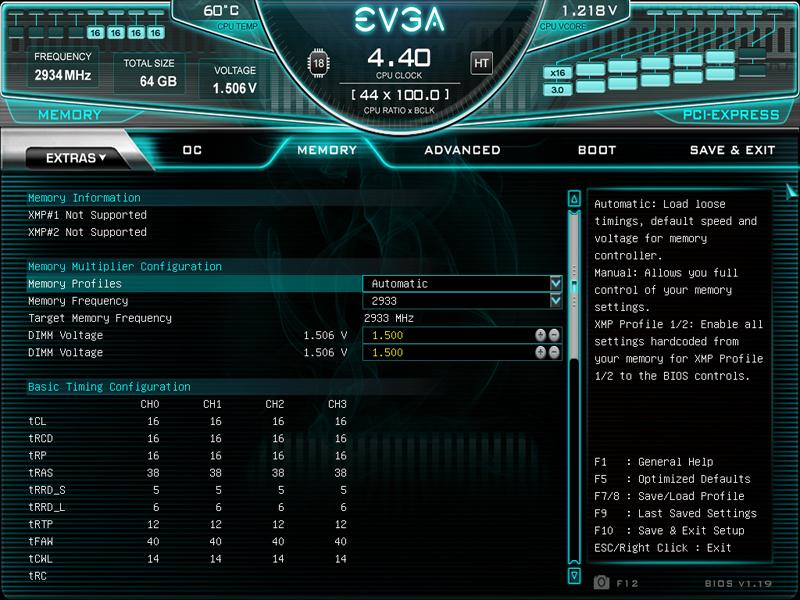 EVGA X299 Dark BIOS Memory