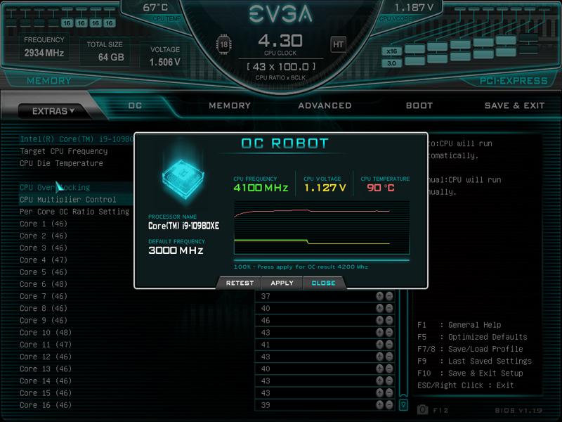 EVGA X299 Dark BIOS OC Robot 1
