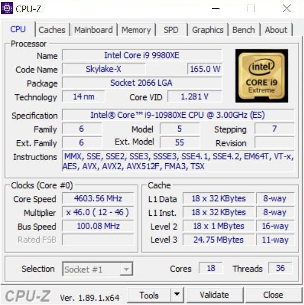 EVGA X299 Dark CPUz