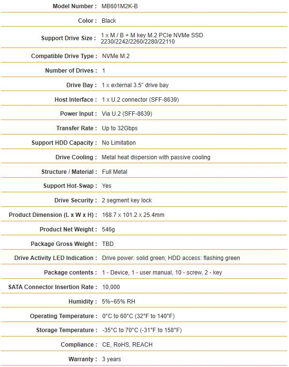Icy Dock ToughArmor MB601M2K 1B Specifications