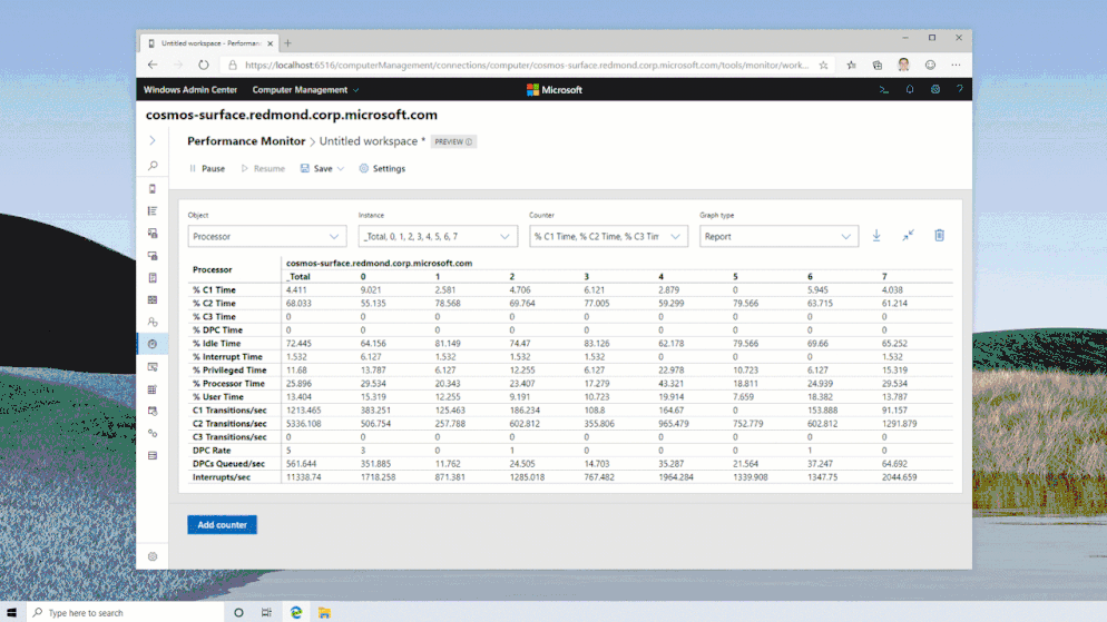 New Performance Monitor For Windows Workspace Example With Tables