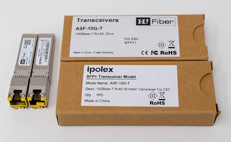 HiFiber And Ipolex ASF 10G T Side By Side With Box