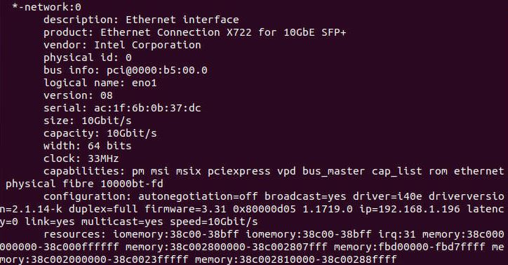 Intel X722 NIC In Ubuntu Lshw
