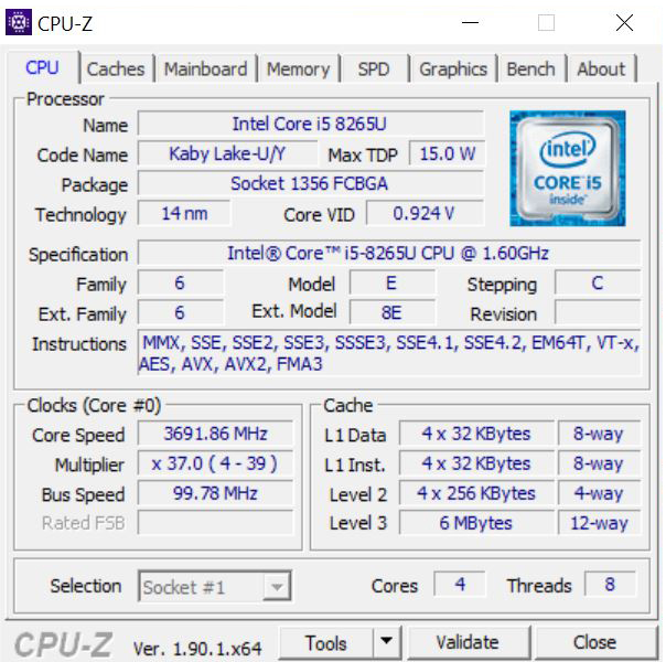 Lenovo ThinkCentre M90n Nano CPUz