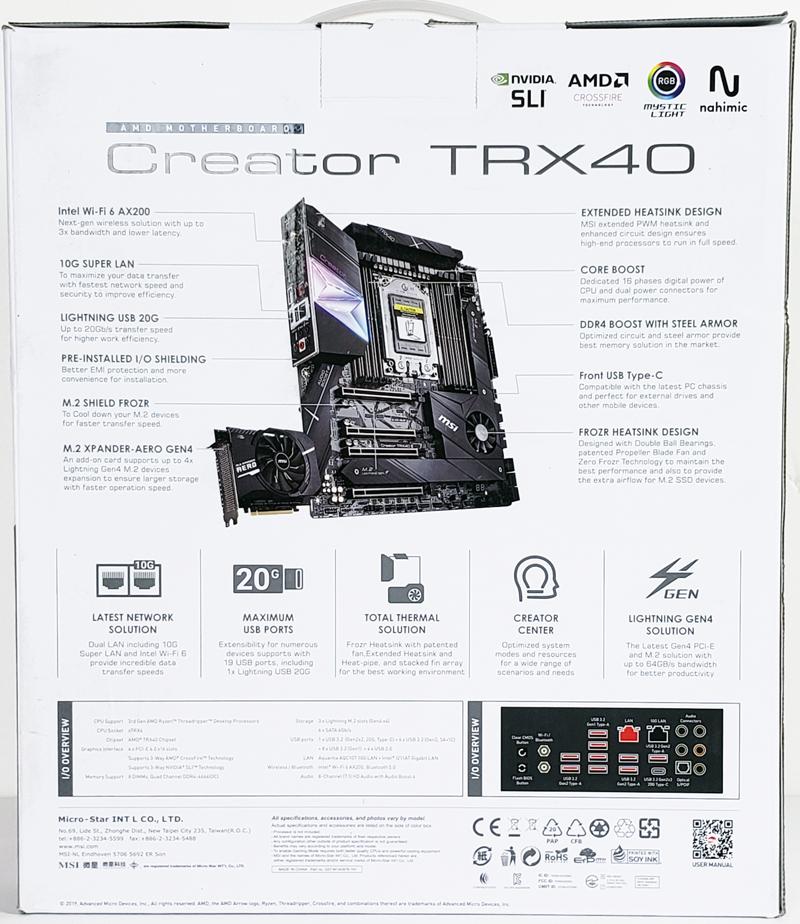 MSI Creator TRX40 Box Back