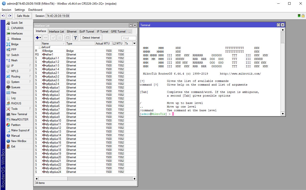 MikroTik CRS326 24S+2Q+RM Interface List And Terminal From WinBox