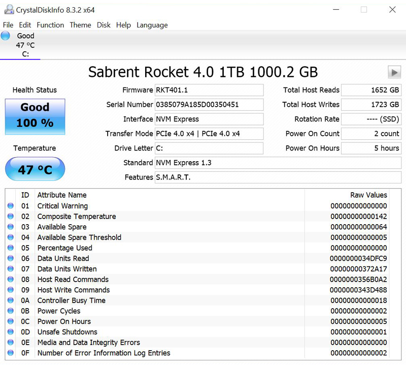 Sabrent Rocket 4 1TB CrystalDiskInfo