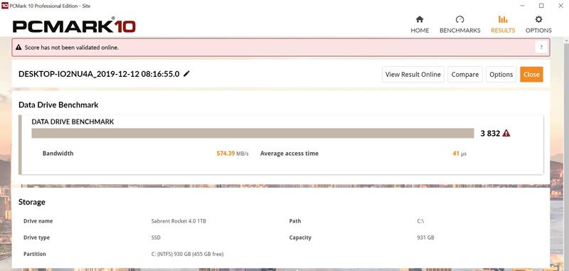 Sabrent Rocket 4 1TB PCMark10 Data Drive