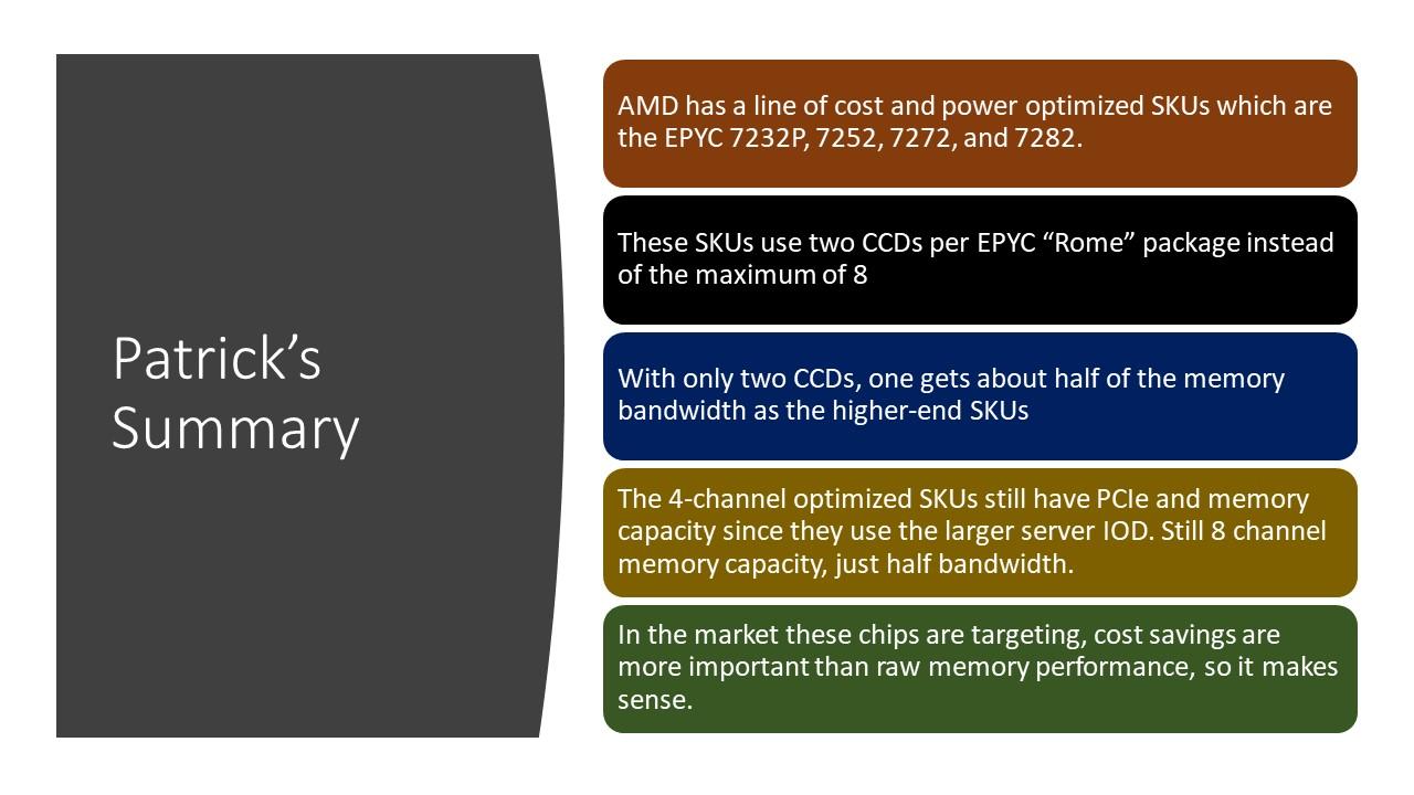 AMD EPYC 7002 4 Ch Optimized SKU Patrick Summary