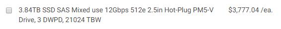 Dell 3.84TB 3DWPD Standard SAS