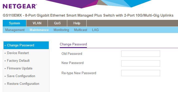 Netgear GS110EMX Change Password