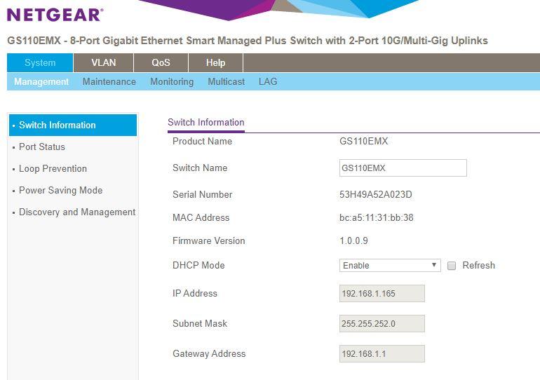 Netgear GS110EMX Management Dashboard