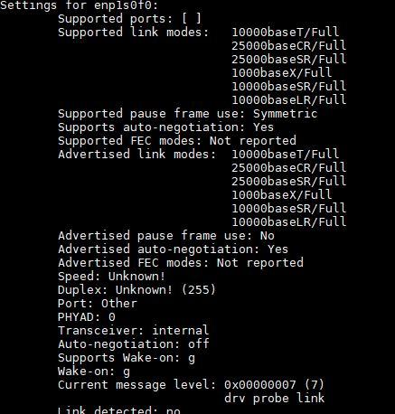 Supermicro AOC S25G I2S Intel XXV710 25GbE SFP28 Ethtool