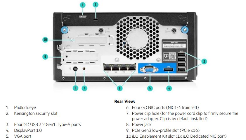 HPE ProLiant MicroServer Gen10 Rear View