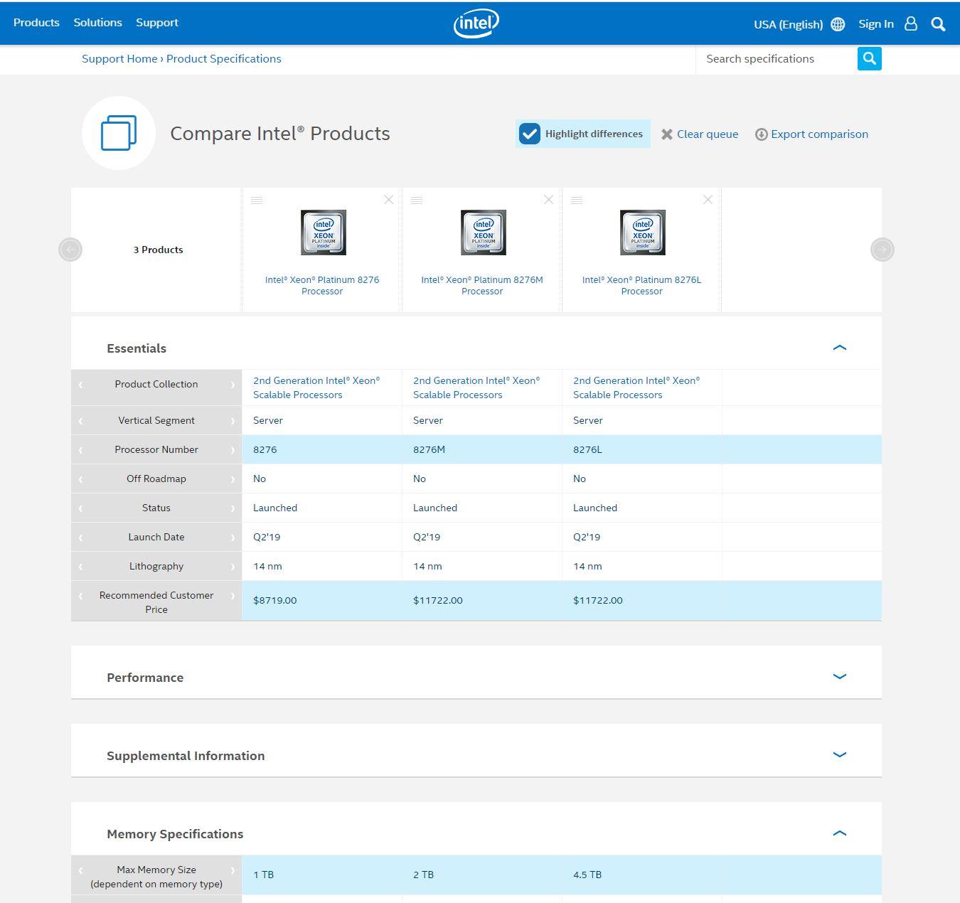 Intel ARK Xeon Platinum 8276 Comparison 2020 02 23