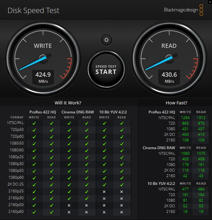 Crucial 1TB X8 SSD USB 3.2 Gen2 Blackmagic Speed Test