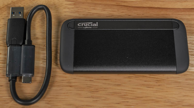 Crucial 1TB X8 USB SSD Front With Cable