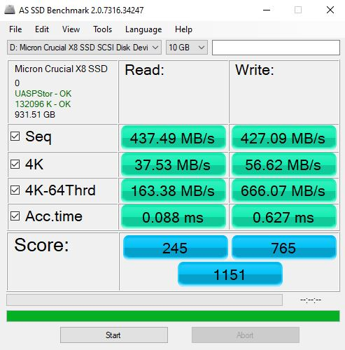 Crucial X8 1TB USB 3.2 Gen1 AS SSD Benchmark
