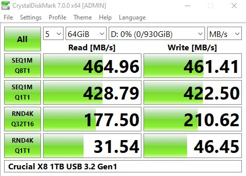 Crucial X8 1TB USB 3.2 Gen1 CrystalDiskMark Benchmark