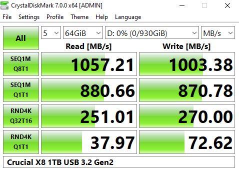 Crucial X8 1TB USB 3.2 Gen2 CrystalDiskMark Benchmark