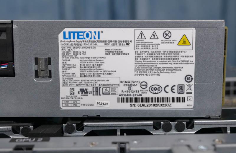 Gigabyte G242 Z10 LiteOn 80Plus Platinum 1.6kW PSU