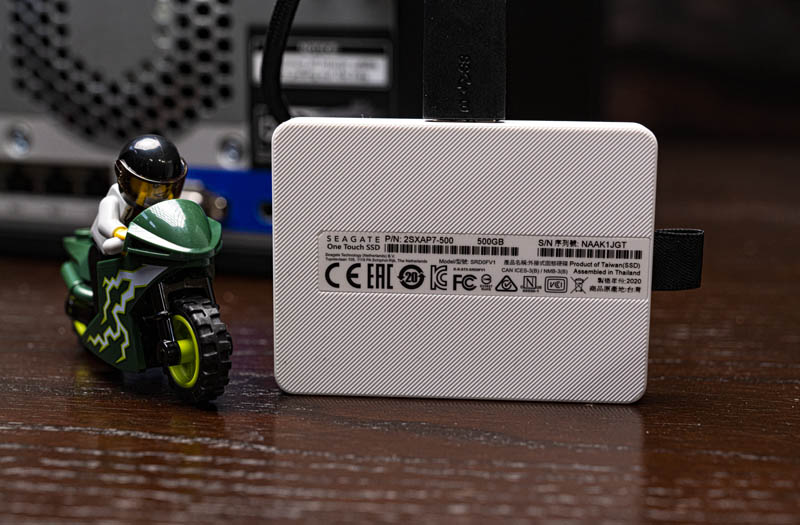Seagate One Touch 500GB USB 3 SSD Label Side Lego For Size Reference