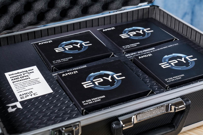 AMD EPYC 7F72 And EPYC 7F32 In Hard Case
