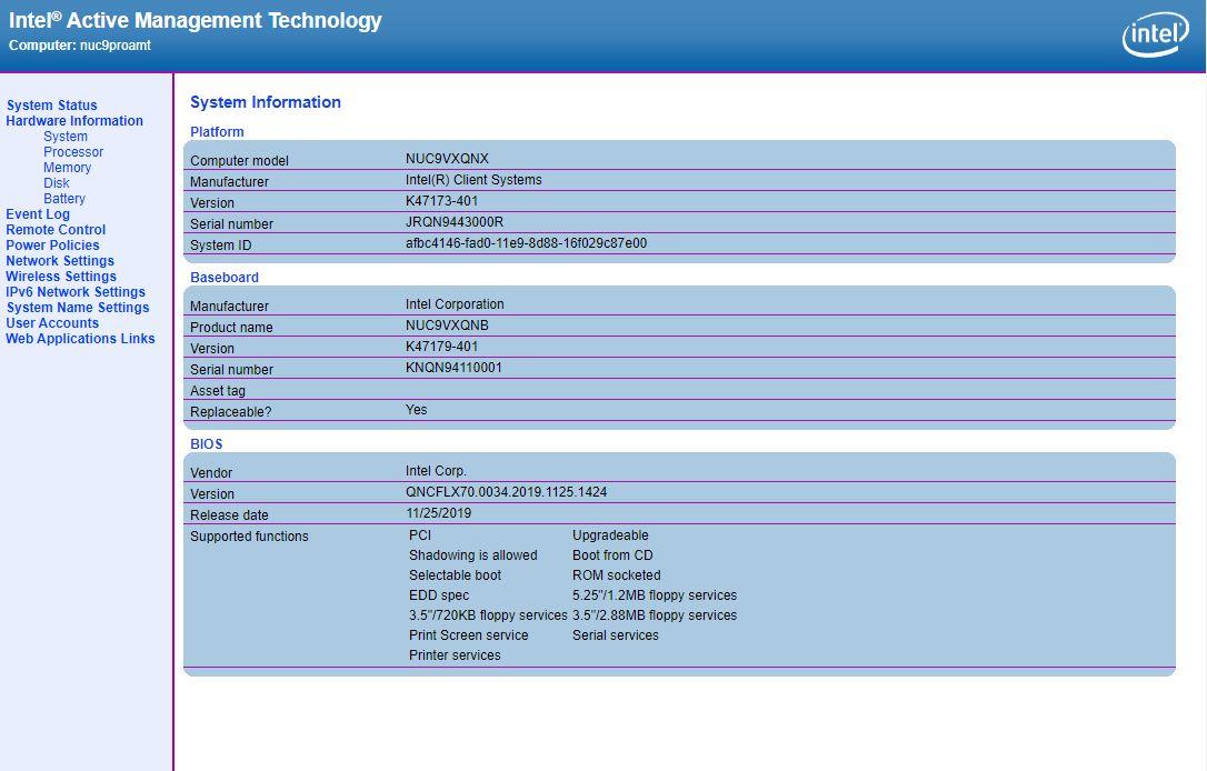Intel NUC 9 Pro AMT Page