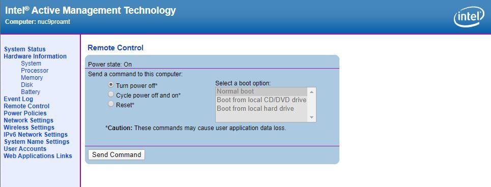 Intel NUC 9 Pro AMT Power Cycle