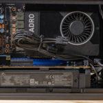 Intel NUC9VXQNX Quartz Canyon Internal Side View With Quadro P2200 In PCIe X16 Slot And FSP 80Plus Platinum PSU