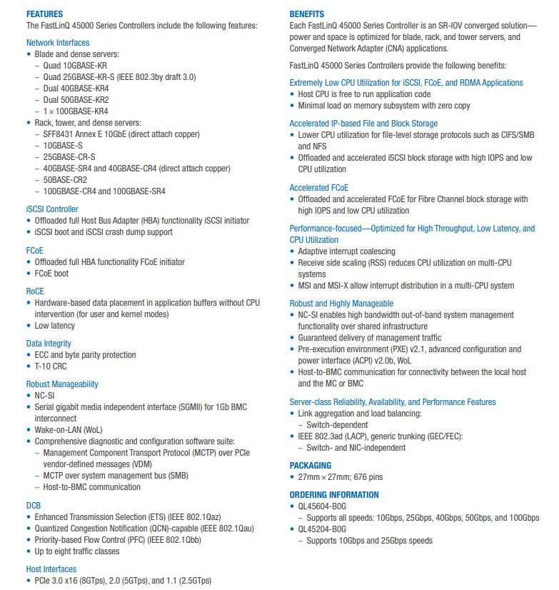 QLogic Cavium Marvell QL45604 B0G Key Specs