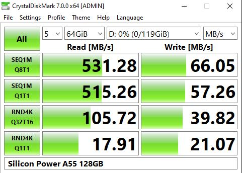 Silicon Power A55 128GB M.2 SSD CrystalDiskMark Benchmark