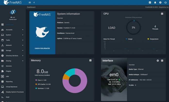 FreeNAS 11.3 U3 Dashboard