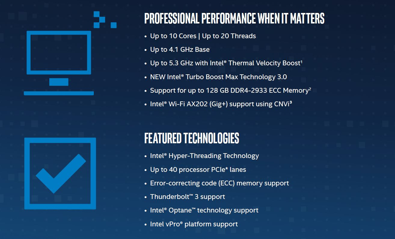 Intel Xeon W 1200 Series Overview