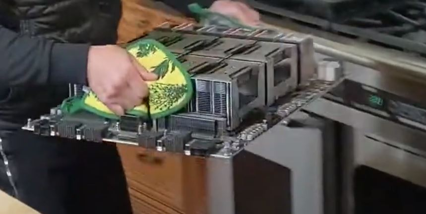 NVIDIA HGX 2 Tesla A100 Edition With Jensen Huang Oven PCIe And Power Side