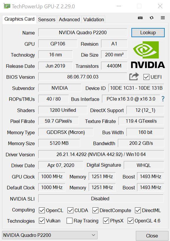 NVIDIA Quadro P2200 GPUz