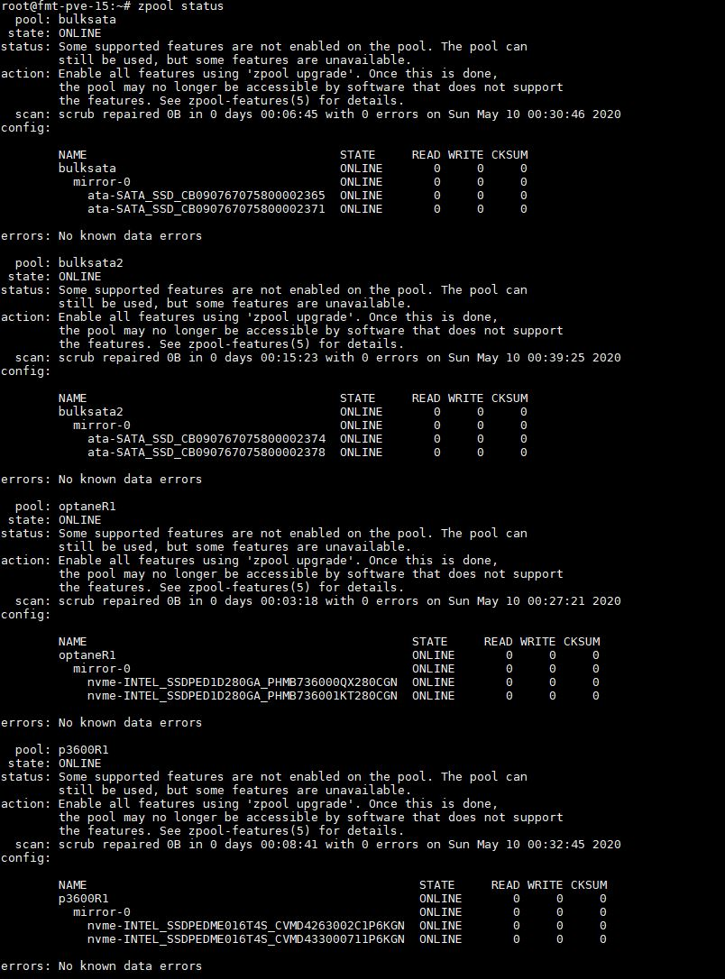 Proxmox VE VM Zpool Status