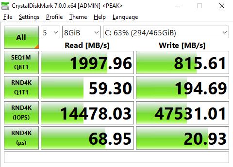 RocketQ 500 CrystalDiskMark 8GB
