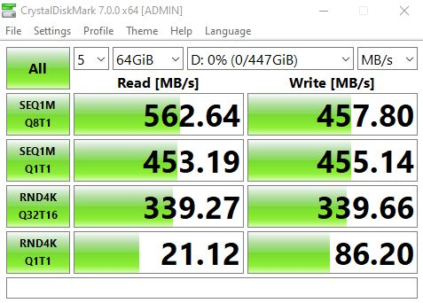 Seagate IronWolf 110 480GB CrystalDiskMark Benchmark
