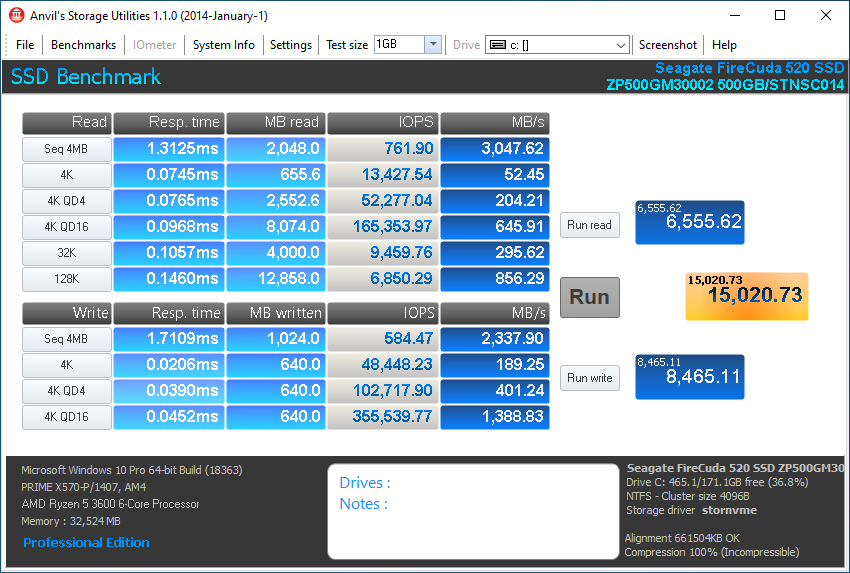 Firecuda 520 500GB Anvil 1GB