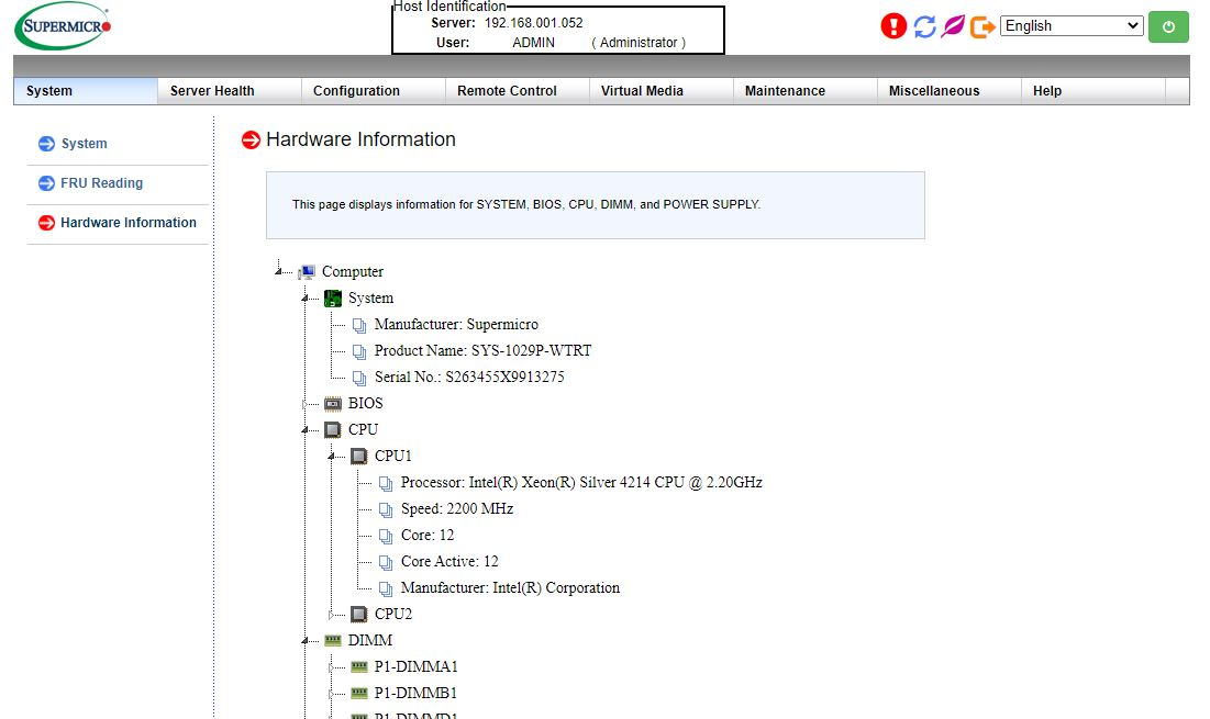 Supermicro SYS 1029P WTRT Management WebGUI Inventory