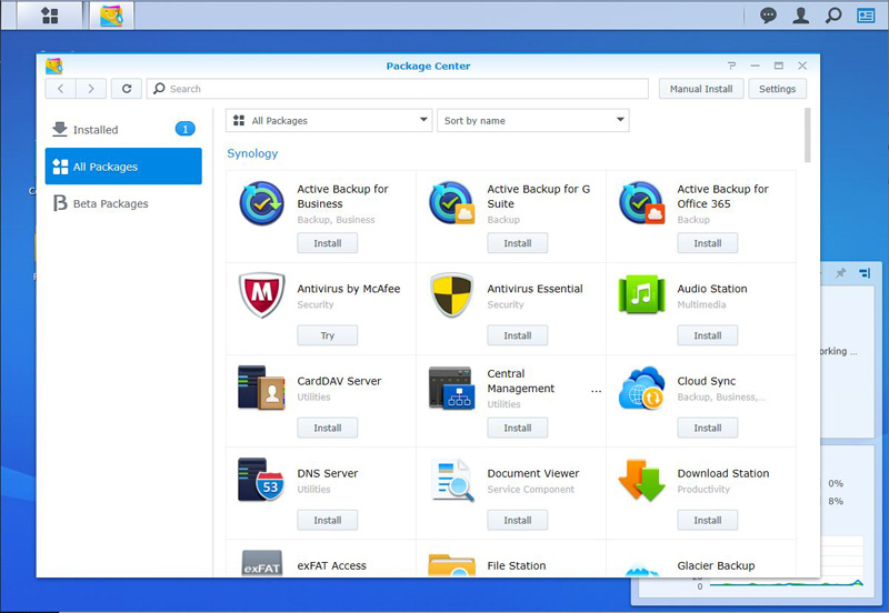 Synology DS920+ Package Manager