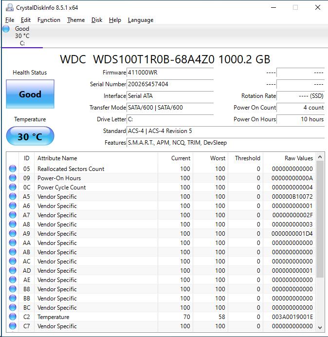 WD Red SA500 1TB CrystalDiskInfo