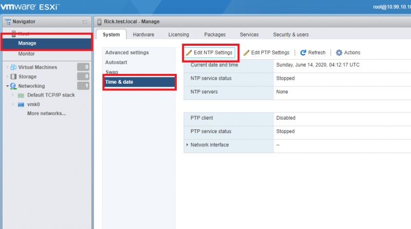 VMWare ESXI Manage Page, System Tab