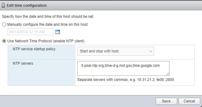 VMWare ESXI NTP Configuration