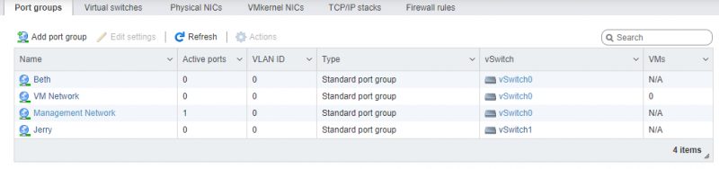 ESXI Networking Page, Port Group Tab