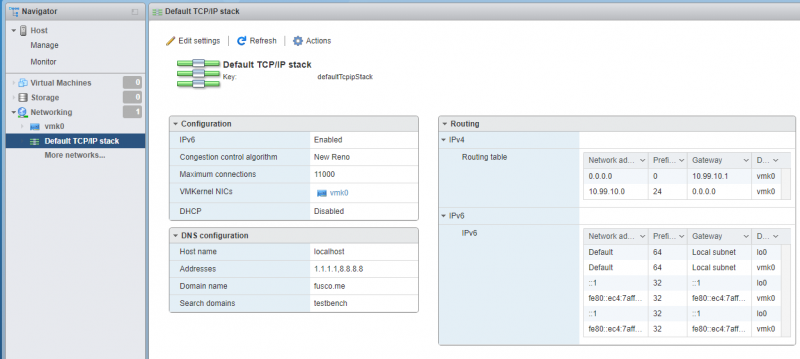 TCP/IP Stacks Settings Page