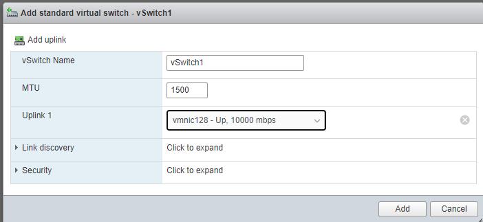 Virtual Switches Configuration Menu